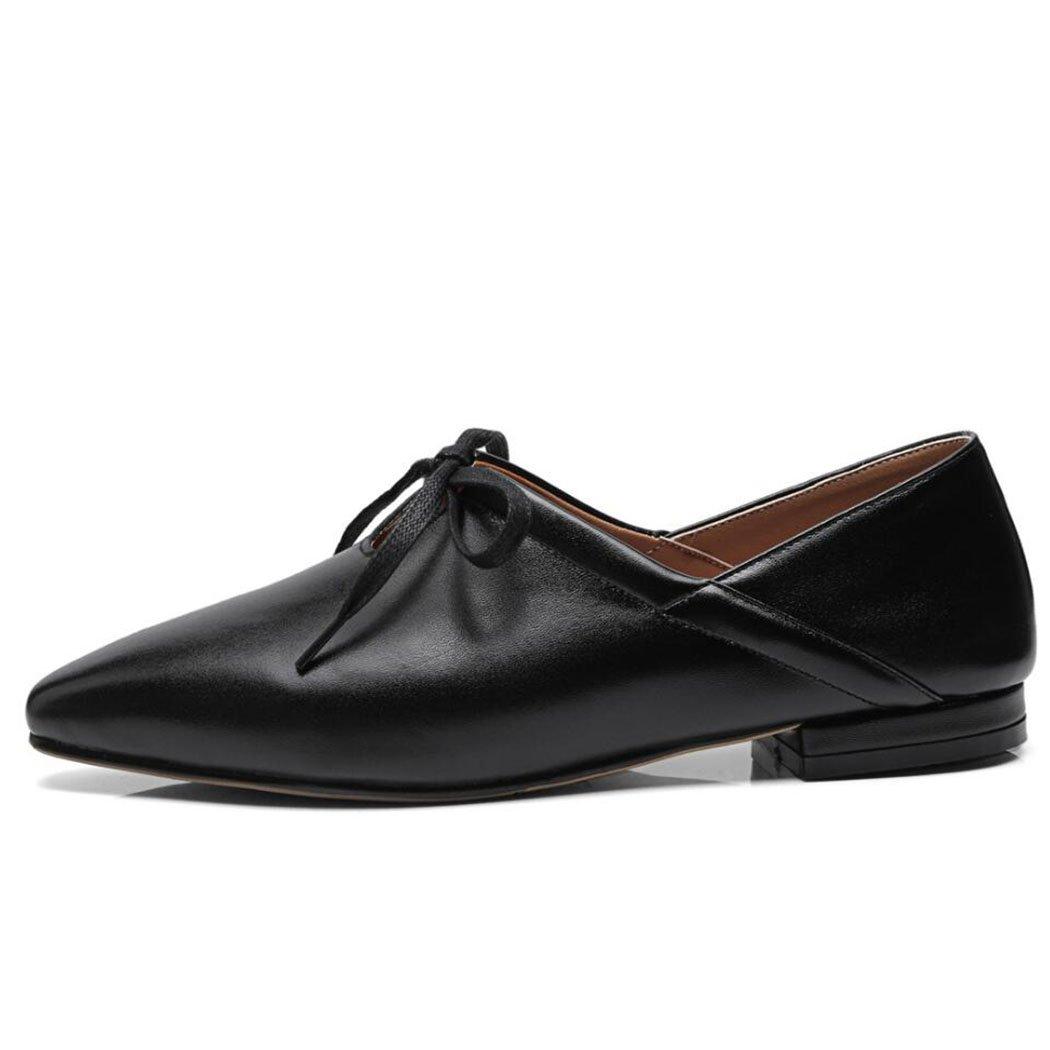 Noir 35 EU Plat Chaussures Décontractées Esvoiturepins Bow Lace Up Mode Seule Chaussures Travail voiturerière Chaussures Noir Blanc
