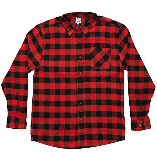 North 15 Men's%100 Cotton Buffalo Plaid Y/D Flannel (Blk Plaid Button)