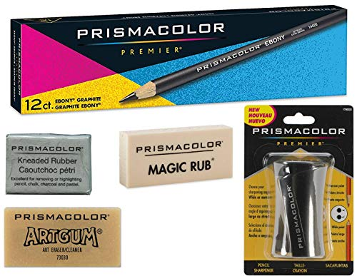 Box of 12, Prismacolor Ebony 14420 Drawing Pencils Plus Bonuses