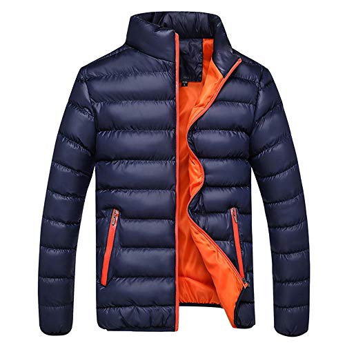 TWGONE Men's Winter Leisure Zipper Pocket Down Jackets Stand Collar Coat Outwear Tops(Large,Dark Blue) ()