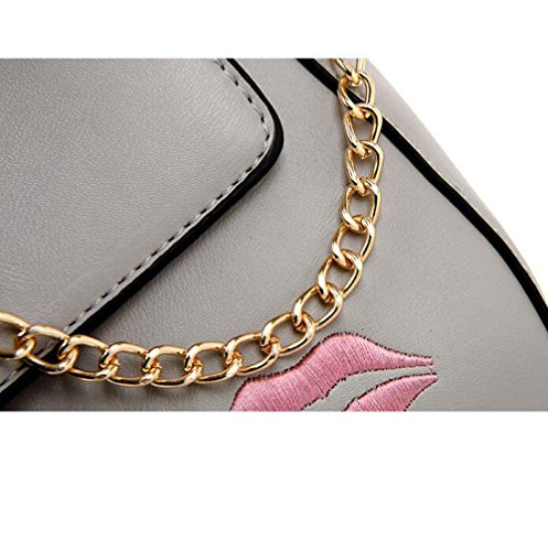 Rouge Lèvres à Sac Bandoulière Womens Bandoulière Sac Black DHFUD Fashion à PU Chaîne à Main S7tvAq7Rxw