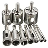 Hitommy Baban 10pcs 6-32mm Diamond Hole Saw Drill Bit for Glass Ceramic Marble