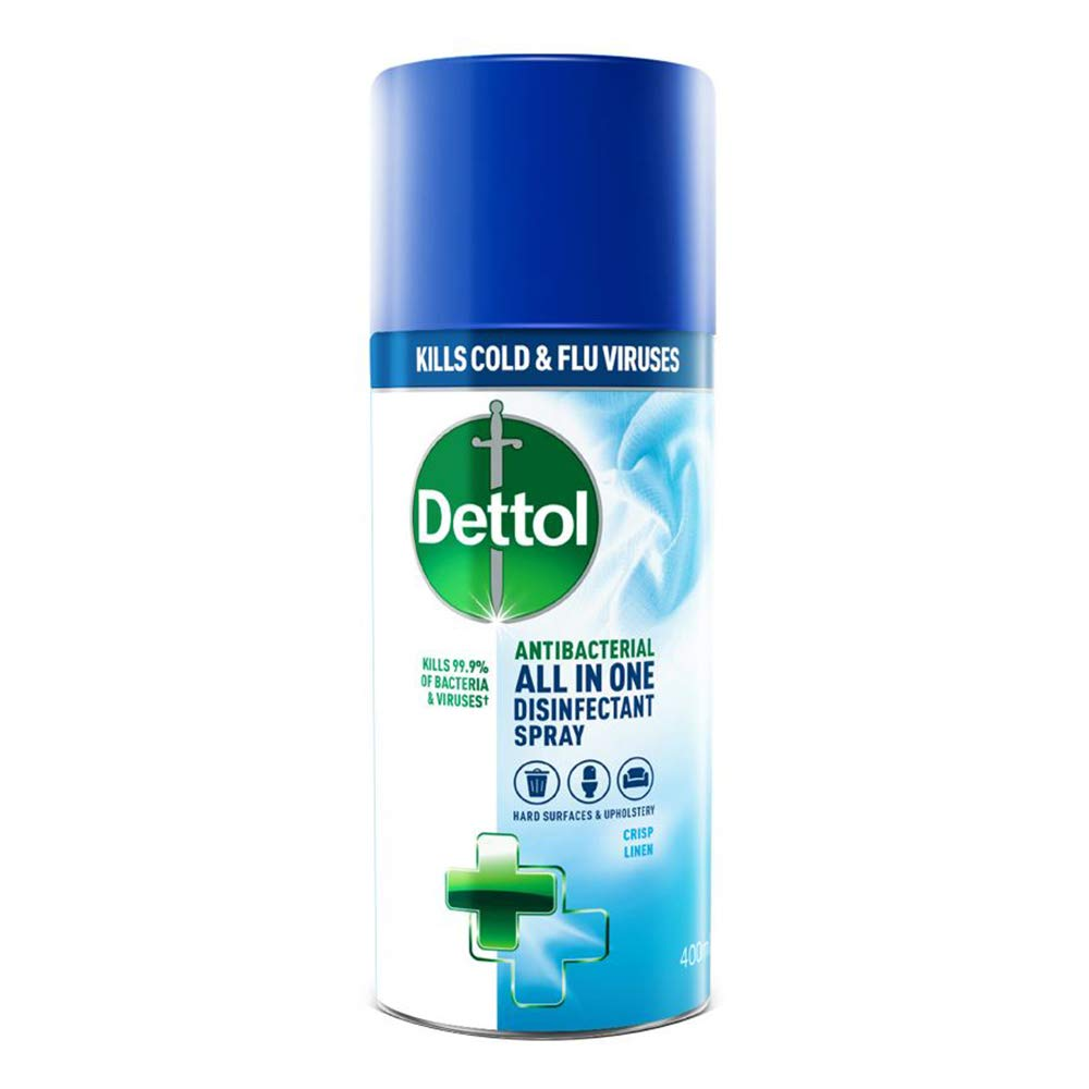 Dettol All-in-One Crisp Linen Disinfectant Spray, 400 ml (Packaging May Vary)