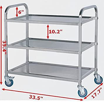 Bon Commercial 3 Shelf Stainless Steel Kitchen Restaurant Utility Cart With  Casters