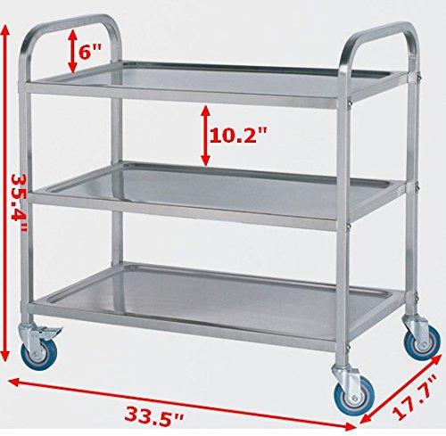 Industrial Kitchen Cart Bar Cart Serving By Maverickindustrial: Commercial 3-shelf Stainless Steel Kitchen Restaurant