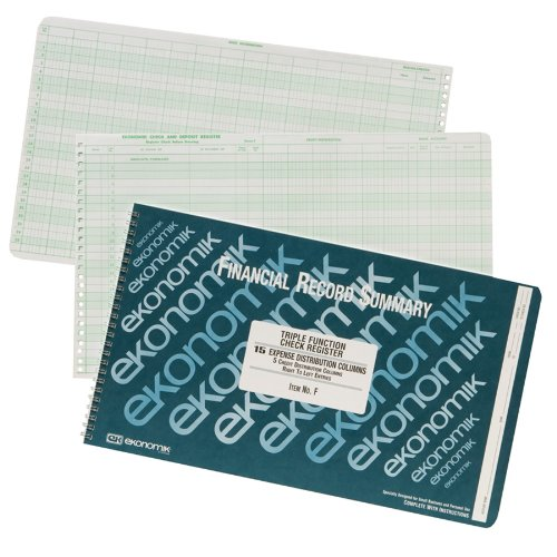 Ekonomik F Wirebound Form F Check Register with 5 Credit/15 Expense Columns, 8-3/4X14-3/4