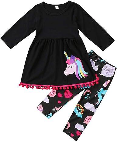Girls Unicorn Print 2 Piece Set Leggings and Hoodies Long Sleeve Top
