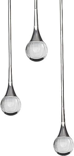 MOTINI Crystal Pendant Lighting 3-Light LED 8W, Luxury Teardrop Clear Carved 3D Crystal Hanging Light Fixture for Kitchen Hallway Restaurant Shop, ETL Listed, Polished-Nickel