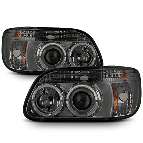 - For Ford Explorer Black Bezel Dual Halo Ring LED 1pc Design Projector Headlights Front Lamps Replacement