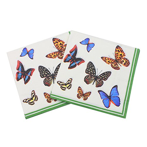 WallyE Butterfly Decoupage Paper Napkins for Thanksgiving or Birthday, 20 Pack