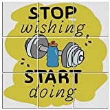 "inspiring octopus wall mural Modern 9-Piece Mural of Fitness on Wood,Stop Wishing Start Doing Inspiring Inscription Dumbbells Water Sports Doodle Style Decorative,60""x60"""