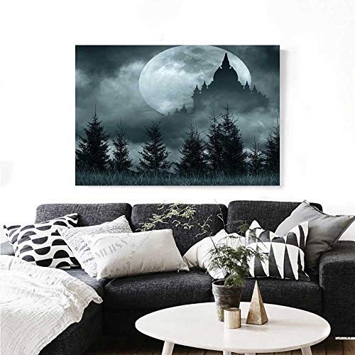 Halloween Canvas Print Wall Art Magic Castle Silhouette Over Full Moon Night Fantasy Landscape Scary Forest Art Stickers 36