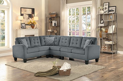 Homelegance sinclair l shaped 2 piece sectional sofa with for Homelegance 2 piece sectional sofa