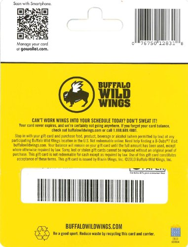Amazon.com: Buffalo Wild Wings Holiday Gift Card $25: Gift Cards