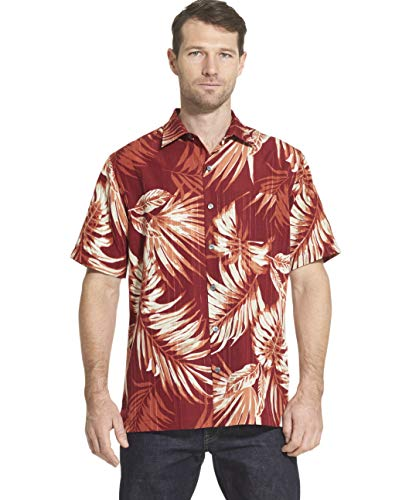 Cotton Rosewood Yarn - Van Heusen Men's Air Tropical Short Sleeve Button Down Poly Rayon Shirt, red Rosewood, XX-Large