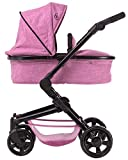 TRIOKID 2 in 1 Deluxe Baby Doll Stroller Sportline X1 Grape Purple Drawable Fabric with Swiveling Wheels & Adjustable Handle