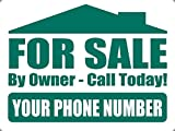 For Sale By Owner Aluminum Yard Sign - Customizable Phone Number!