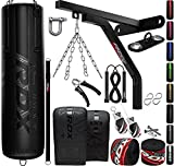 RDX 14PC Punching Bag 5ft 4ft Heavy Filled Set, Non Tear Maya Hide Leather Adult Bag Wall Bracket Floor Hook Punch Gloves Chain, Kara Patent Pending Kickboxing Boxing MMA Muay Thai Training Workout