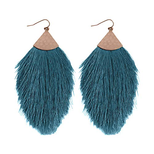 Antique Bohemian Silky Thread Fan Tassel Statement Drop - Vintage Gold Feather Shape Strand Fringe Lightweight Hook/Acetate Dangles Earrings/Long Chain Necklace (Earrings Feather Fringe - Teal Blue) ()