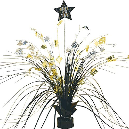 Amscan Happy New Year Black Star Foil Spray Centerpiece | Party Decoration