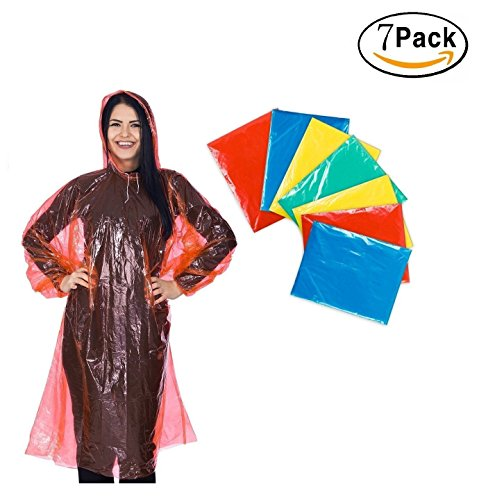 Disposable Rain Ponchos Emergency - 7 PACKS for adults - rain poncho 100% waterproof with drawstring hood and Elastic Sleeve - 55% Thicker and Portable - Poncho for family womens mens & kids