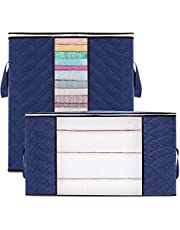 2 Pack Foldable Clothes Storage Bags, MissRui Large Capacity Closet Organizers and Storage Bins with Clear Window Reinforced Handle Sturdy Zipper, for Blanket Quilt Clothing