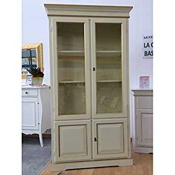 Vitrine Bücherregal 2 Türen Holz Farbe Elfenbein Rand Gold U2013 Wie Foto Weiß  Und Elfenbein