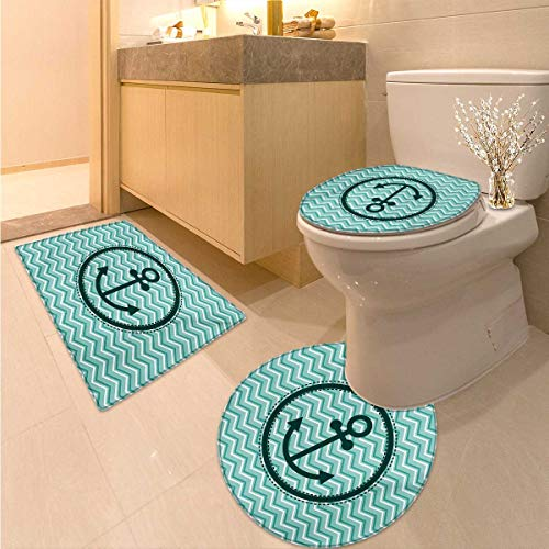 Anchor Bathroom Toilet mat Set Horizontal Zig Zag Pattern Background Anchor Image Circle Shape Medallion 3 Piece Large Contour Mat Set Dark Green ()