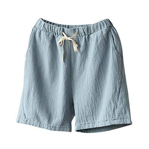 Women's Cotton Linen Shorts, Ladies Elastic Waist Drawstring Short Pants Solid Casual Pants ❤️ Gogoodgo❤️ Light Blue