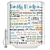 CHARMHOME Family Rules Educational Waterproof Fabric Polyester Bathroom Shower Curtain with 12 Hooks 60(w) x 72(h)