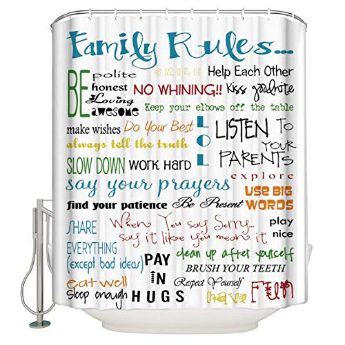 CHARMHOME Family Rules Educational Shower Curtain Waterproof Fabric Bathroom Shower Curtain with 12 Hooks 60(W) x72(L) Inch