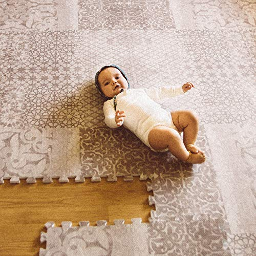 Little Nomad Baby Foam Play Mat Authentic Roam Free 4 x 6 Soft Interlocking Floor Tiles | Resembles an Area Rug | As Seen On Shark Tank Dusk Beige