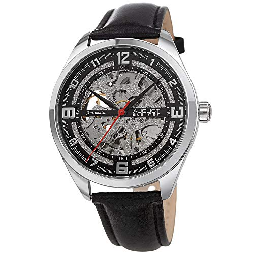 (August Steiner AS8264 Men's Skeleton Watch – Genuine Leather Band, Automatic Mechanical Movement, See Through Dial (Silver &)