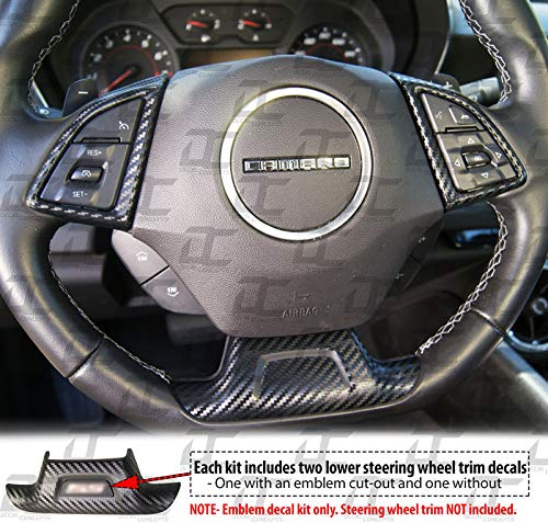 Camaro Carbon Fiber Full Steering Wheel Accent Decal kit cover (2016-2019)