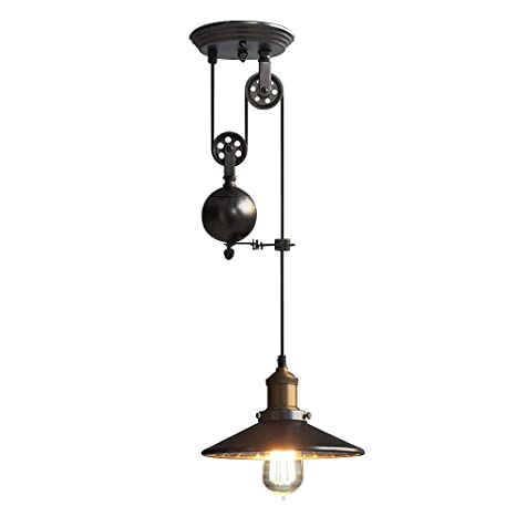 NIUYAO Lámparas de araña Metal Candelabro Iluminación de techo Ajustable Industrial Retro 1 Luz-Negro