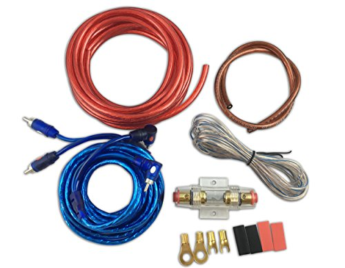 Muzata 10 Gauge Amplifier Installation Kit with RCA Interconnect and (10 Gauge Amp Kit)