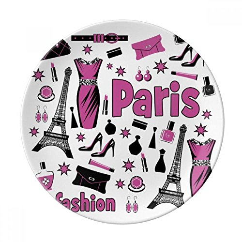 (Dressing Lady France Eiffel Tower Pink Dessert Plate Decorative Porcelain 8 inch Dinner Home)