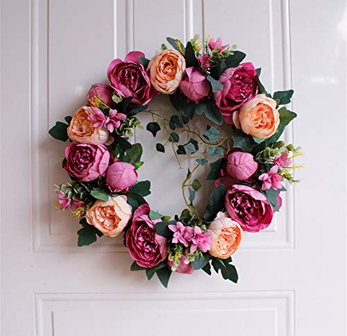 Liveinu Artificial Handmade Wreaths for Front Door with Twig Base Flowers Arrangements Wedding Table Centerpieces Wreath Garland Blooming Peonies Hydrangea Red 15.6 Inch