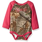 Carhartt Baby Little Girls' Long Sleeve Bodyshirt, Dark Brown Print, 9M