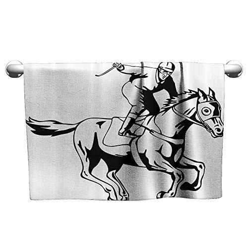 (Equestrian Water-Absorbing Bath Towel Jockey Man Riding Horse and Raising Victory Salute Racing Winning Illustration W19 x L39 Black White)