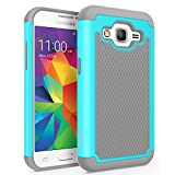 Core Prime Case, SYONER [Shockproof] Hybrid Rubber Dual Layer Armor Defender Protective Case Cover for Samsung Galaxy Core Prime / Prevail LTE [Turquoise/Grey]