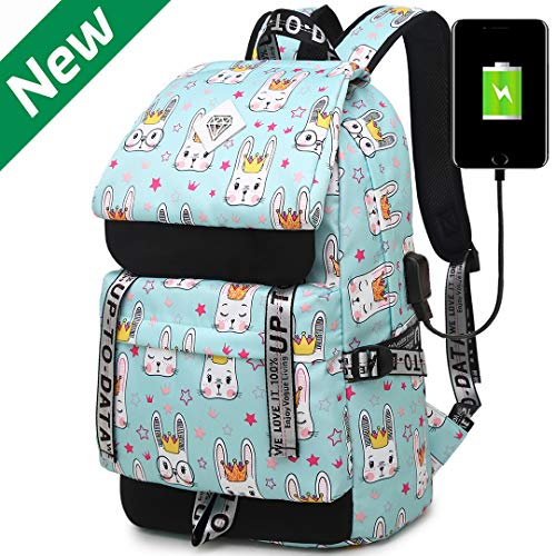 Hey Yoo HY790 Cute Rabbit School Backpack Travel Casual Hiking Daypack Laptop Book Bag School Bag Backpack for Teen Girls Women (Water Blue)