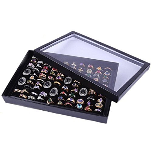 Hot Sale Rings!AmyDong Women Jewelry Rings Storage Box Display Tray Velvet 100 Slot Case Ring Jewelry Box (Black) (00 Tray Paper)