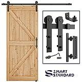 6.6 FT Heavy Duty Sturdy Sliding Barn Door Hardware Kit, 6.6ft Double Rail, Black, (Whole Set Includes 1x Pull Handle Set & 1x Floor Guide & 1x Latch Lock) Fit 36''-40'' Wide Door Panel (I Shape Hanger)