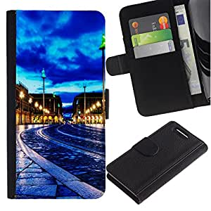 All Phone Most Case / Oferta Especial Cáscara Funda de cuero Monedero Cubierta de proteccion Caso / Wallet Case for Sony Xperia Z1 Compact D5503 // Blue Sky City Night