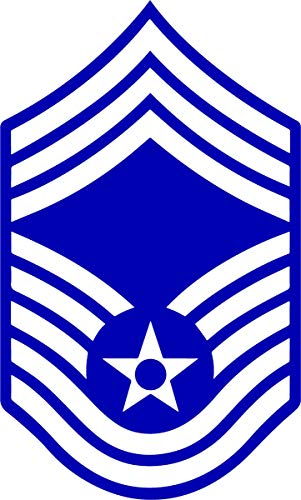 U.S. Air Force White on Blue Chevron Sticker (Chief Master Sergeant (CMSgt)) Chief Master Of The Air Force