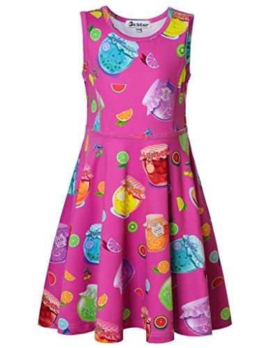 Jxstar Big Girls Dress Sweet Fruit Skater Jam Pattern Sleeveless Dress Jam 160