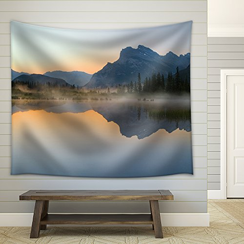 Vermillion Lake with Mount Rundle and Reflection at Dawn Fabric Wall