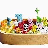 EORTA 40 Pieces Cartoon Animals Fruit Forks Plastic Food Picks Mini Cute Toothpick Bento/Lunch Box Decoration for Kids Eating Vegetables, Dessert, Color Random
