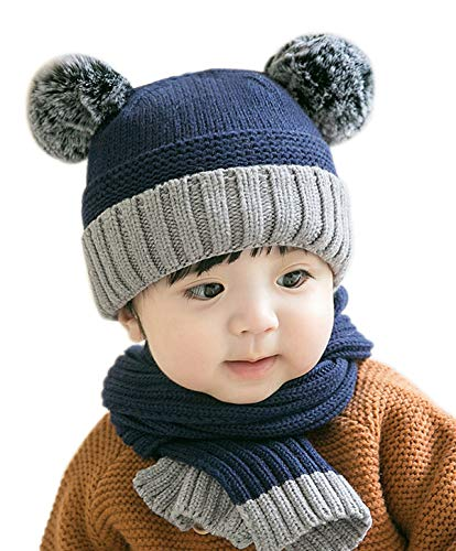 Baby Winter Beanie Hat Scarf -Grey Gray Beige Pink Navy Toddler kids Girl Crochet Kit Hat Set, Pom-pom Cap for Boy infant, Outdoor Warm Fashion Outfits 6-12 Months 2t 3t